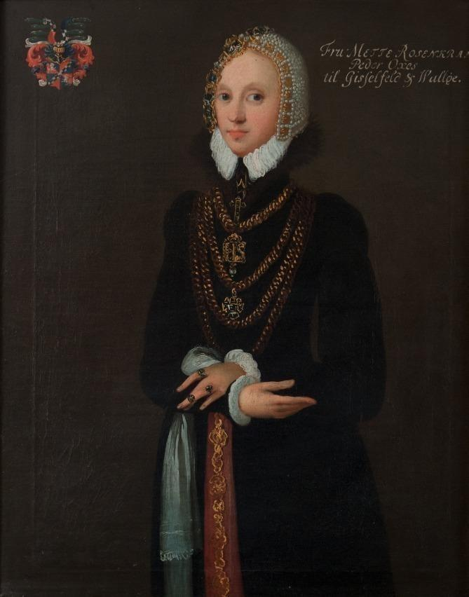 Mette Rosenkrantz, ca 1567. Oil on canvas by unknown painter.