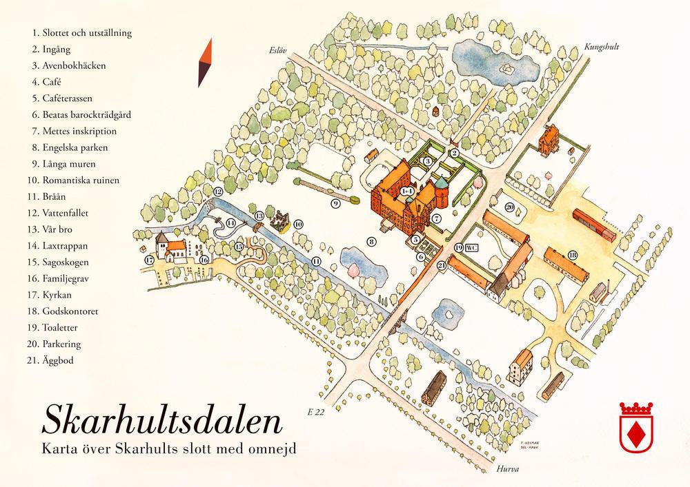 Skarhultsdalen. Akvarellkarta tecknad av Felix Heuman.