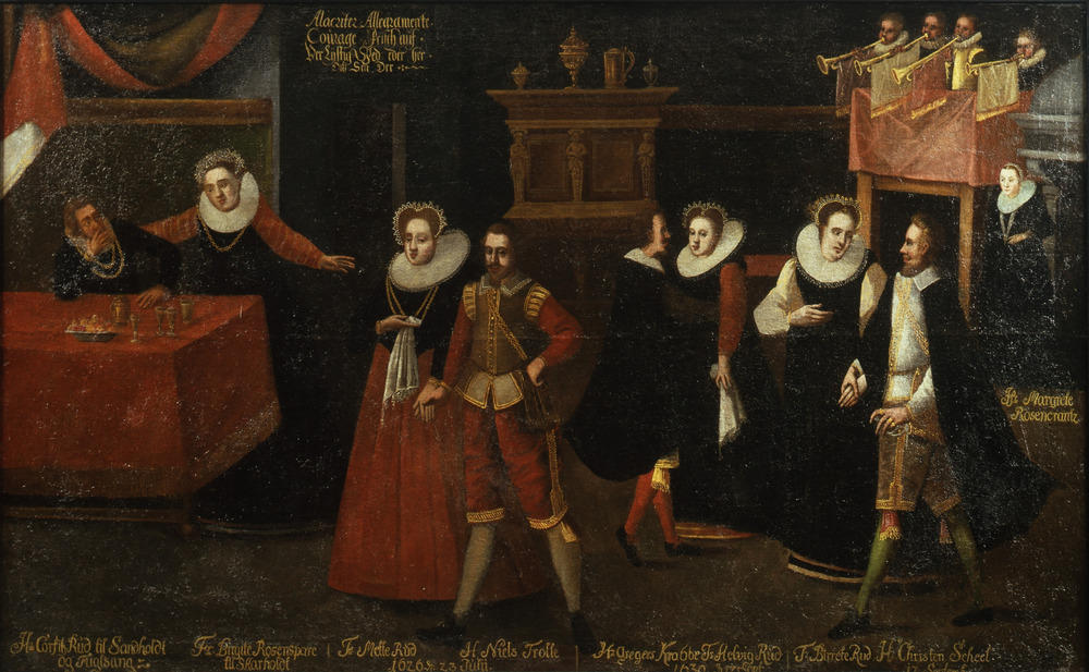 """Dansen med Rud'erne"", from the beginning of the 17th century, illustrates the descendants of Mette Rosenkrantz. Two of these women, Birgitte Rosensparre (to the left) and Mette Corfitzdatter Rud (the middle to the left) have for a long time been hidden in Skarhult's history."